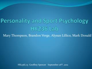 Personality and Sport Psychology HK236 Lab