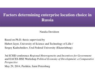Factors determining enterprise location choice in Russia