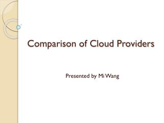 Comparison of Cloud Providers