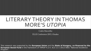 Literary theory in  Thomas  More's Utopia