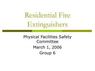 Residential Fire Extinguishers