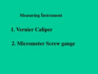 Measuring  I nstrument