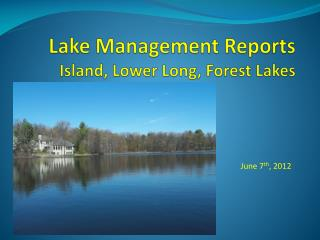 Lake Management Reports Island, Lower Long, Forest Lakes