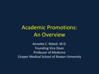 Academic Promotions: An Overview