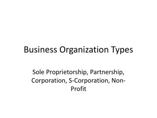 Business Organization Types