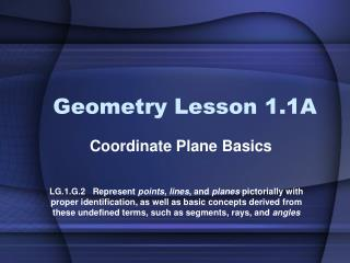 Geometry Lesson 1.1A