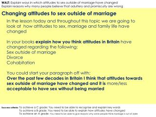 Changing attitudes to sex outside of marriage