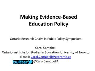 Making Evidence-Based  Education Policy
