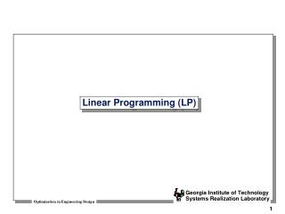 Linear Programming (LP)