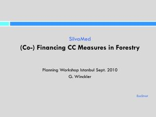 SilvaMed (Co-) Financing CC Measures in Forestry Planning Workshop Istanbul Sept. 2010 G. Winckler