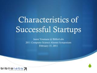 Characteristics of Successful Startups