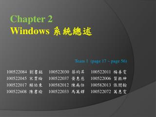 Chapter 2 Windows  系統總述