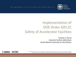 Implementation of  DOE Order 420.2C  Safety of Accelerator Facilities