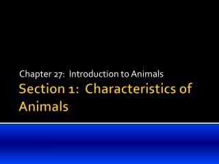 Section 1:  Characteristics of Animals
