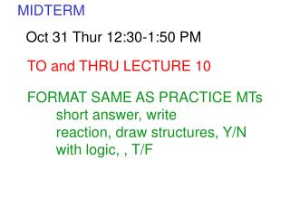 TO and THRU LECTURE 10