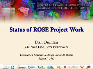 Status of ROSE  P roject Work