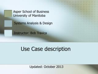 Use Case description
