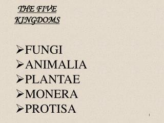 FUNGI ANIMALIA PLANTAE MONERA PROTISA