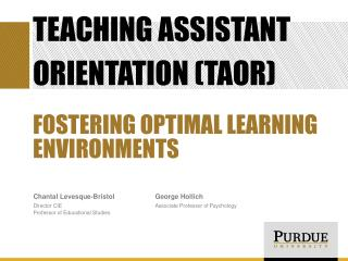 Teaching Assistant Orientation (TAOR)