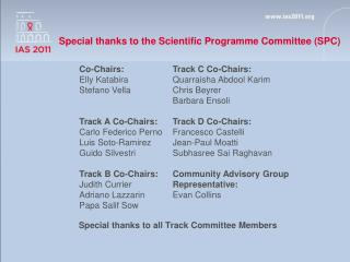 Special thanks to the Scientific Programme Committee (SPC)