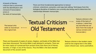 Textual  Criticism Old Testament