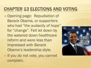Chapter 13 elections and voting