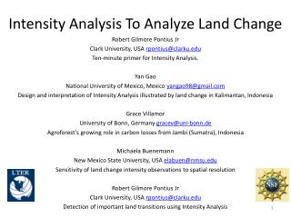Intensity Analysis To Analyze Land Change