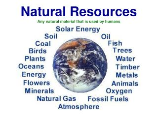 Natural Resources Any natural material that is used by humans