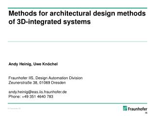 Methods  for architectural design methods of 3D-integrated systems