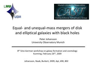 Equal- and unequal-mass mergers of disk and elliptical galaxies with black holes