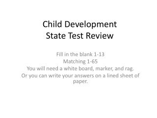Child Development State Test Review