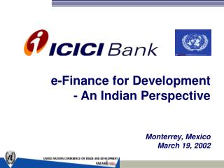 E-Finance for Development - An Indian Perspective