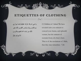 Etiquettes of Clothing