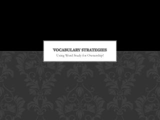 Vocabulary Strategies