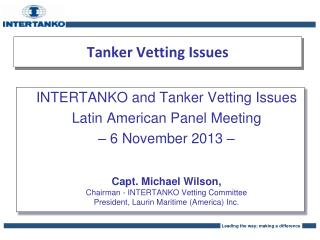 Tanker Vetting Issues