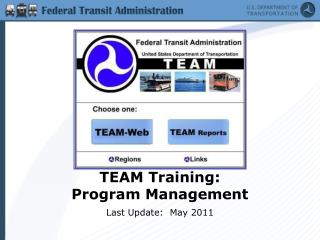 TEAM Training:   Program Management