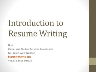 Introduction to Resume Writing