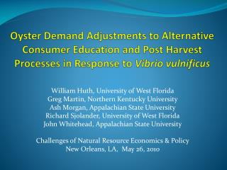 William  Huth , University of West Florida Greg Martin, Northern Kentucky University
