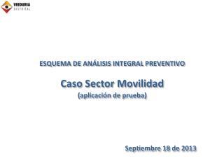 ESQUEMA DE ANÁLISIS INTEGRAL PREVENTIVO Caso Sector Movilidad  (aplicación de prueba)