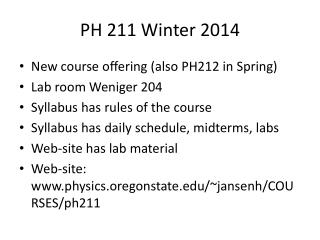 PH 211 Winter 2014