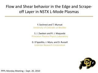 Flow and Shear behavior in the Edge and Scrape-off Layer in NSTX L-Mode Plasmas