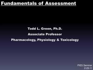 Fundamentals of Assessment