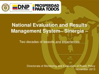 National Evaluation  and  Results  Management  System –  Sinergia  –