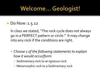 Welcome… Geologist!