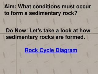 Aim: What conditions must occur to form a sedimentary rock?