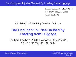 Car Occupant Injuries Caused By Loading From Luggage