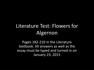 Response to Literature  Essay Writing  Flowers for Algernon  Model
