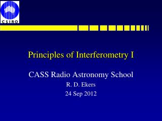 Principles of  Interferometry  I
