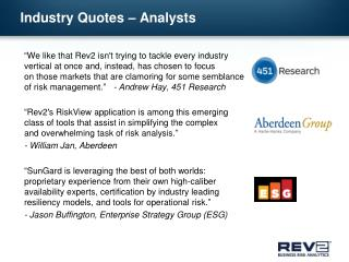 Industry Quotes – Analysts