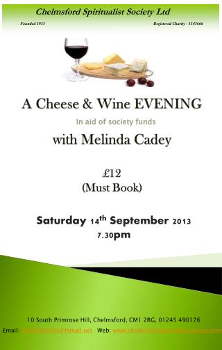 A Cheese & Wine EVENING  with  Melinda Cadey £12 (Must Book)